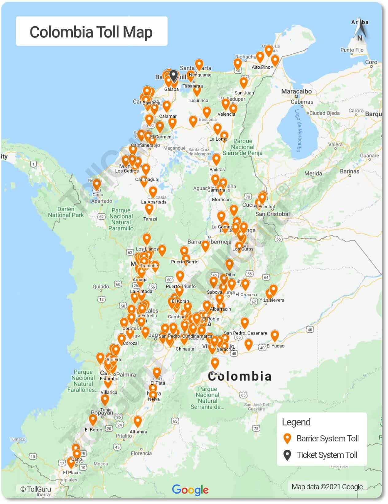 Toll plazas of Colombia on national and departmental roads including Oriente Tunnel, Pipiral toll, Circasia toll and those connecting Bogotá to other cities.