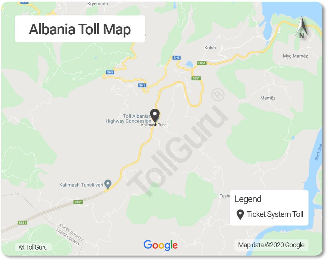 The only toll plaza in Albania is for the A1 Rruga e Kombit highway which is located at the entrance of Kalimash tunnel.