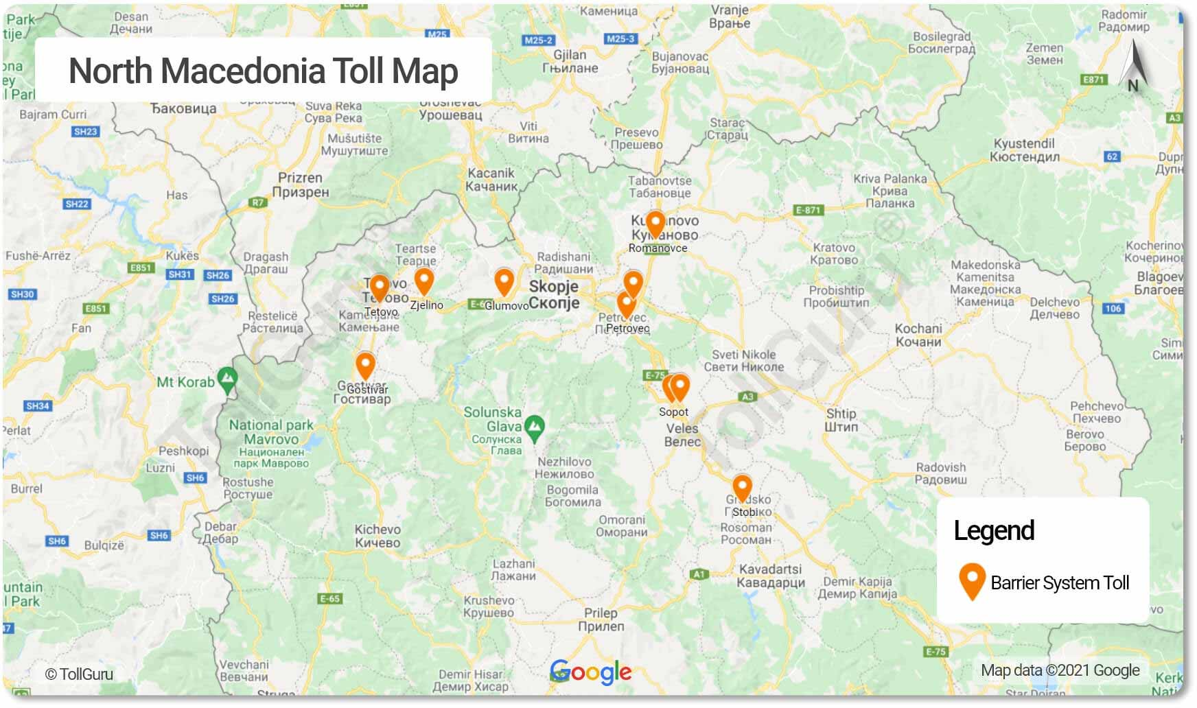 The toll plazas in North Macedonia for all the motorways including A2, A1, and A4 where tolls must be paid in cash only.