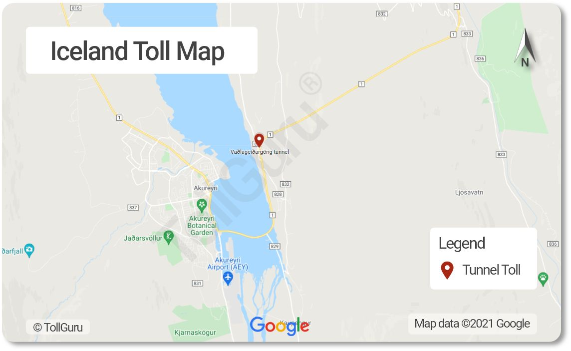The only toll plaza in Iceland is for Vadlaheidargong tunnel where toll rate depends on vehicle type and payment time with cash or card.