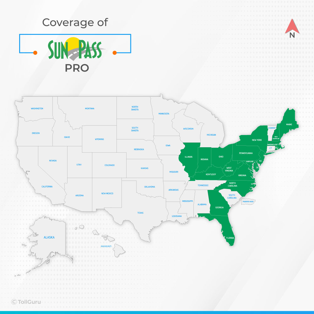 SunPass PRO is a type of SunPass toll tag valid across Florida, Gerogia, North Carolina and 16 other states where E-ZPass works.