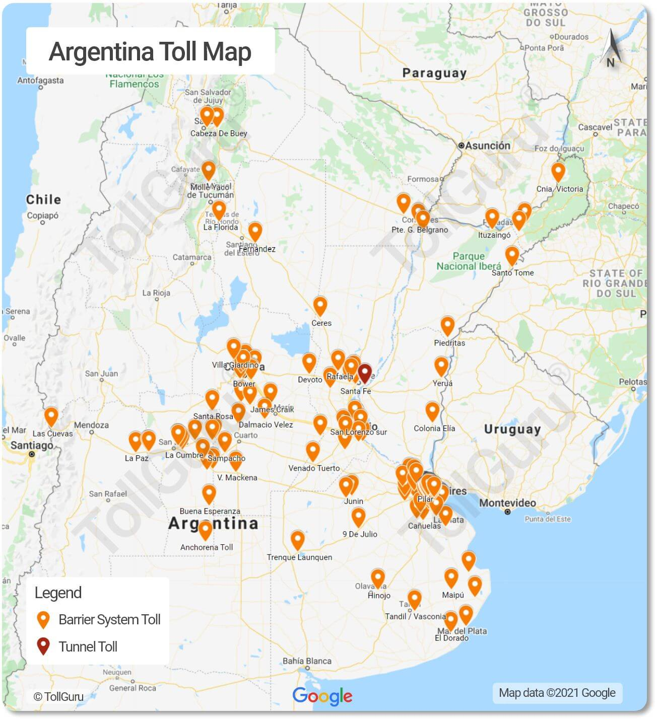 Toll plazas of Argentina for all Corridors, Accesos and National Route Network including National Route 1 and Riccheri Highway.