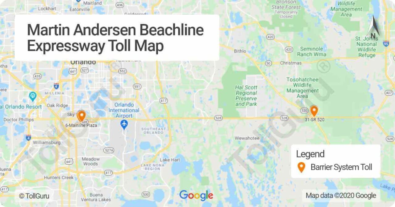 Toll booth locations of Florida 528 or Martin B. Andersen Beachline Expressway Toll Plazas in both east and west side