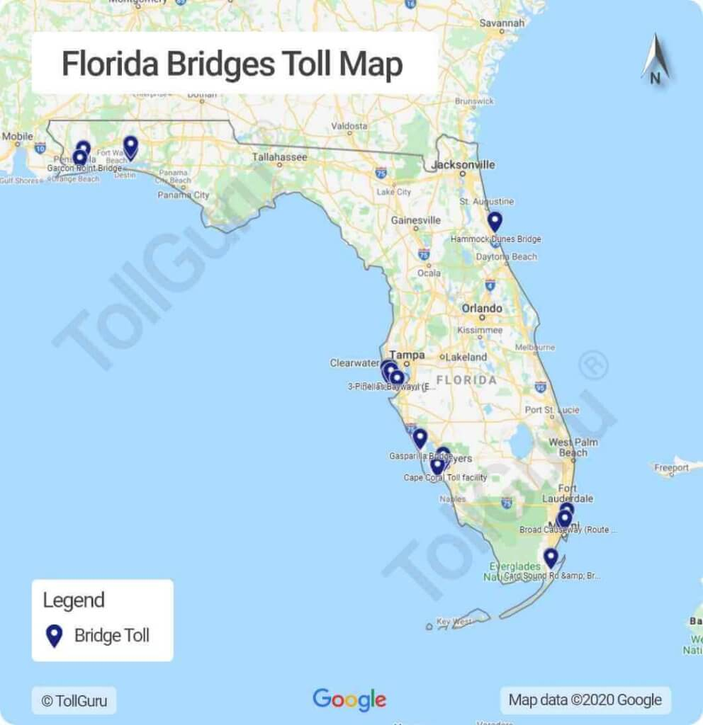 Toll booth locations of all tolled bridges in Florida including Sunshine Skyway Bridge and Cape Coral Bridge