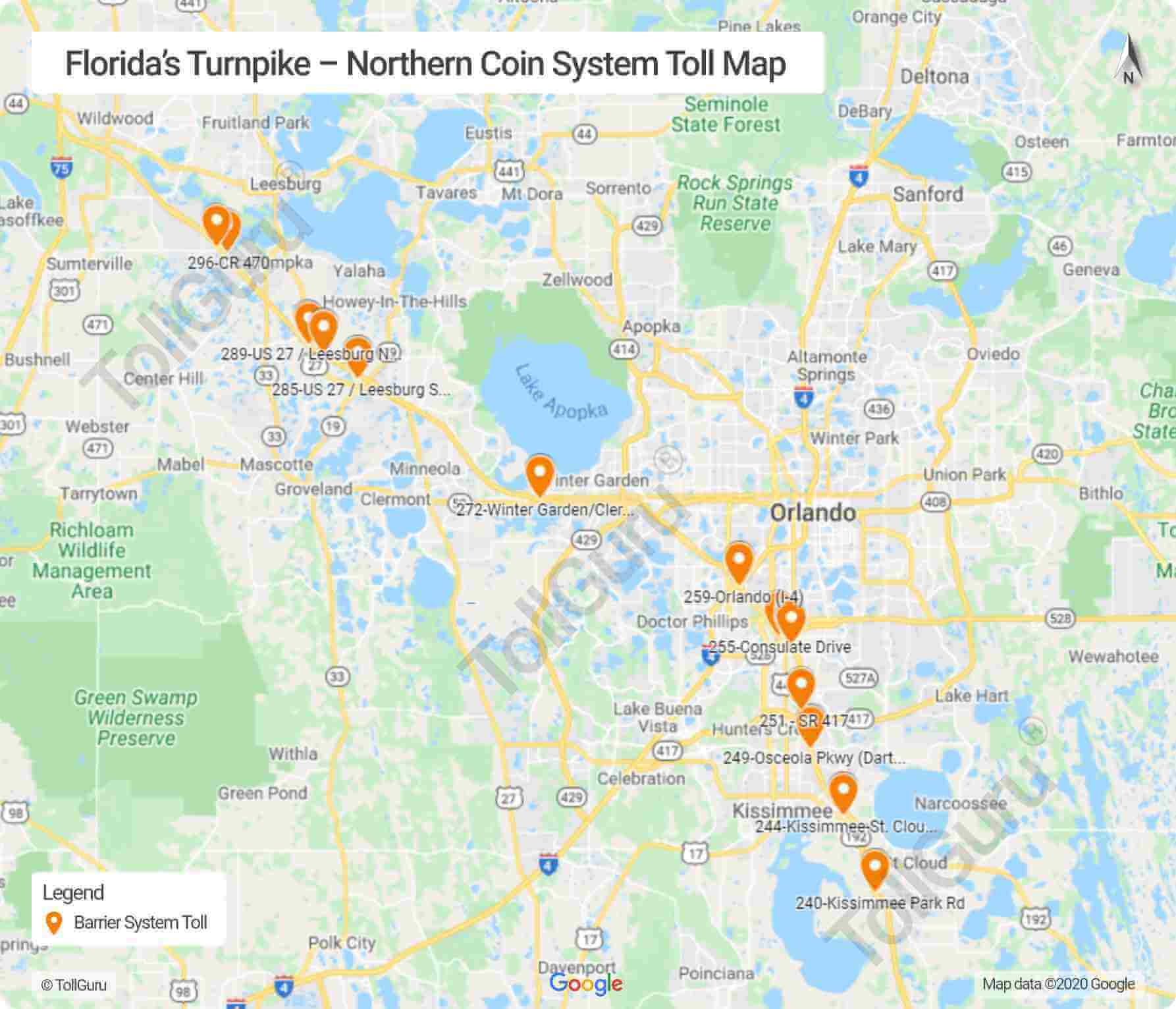 Map of toll booths on Florida Turnpike-Northern Coin System including I-4, I-75 and I-95