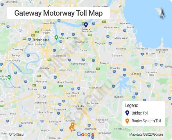 Gateway Bridge Brisbane toll booth locations