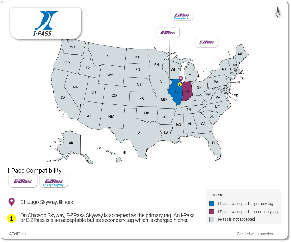 I-Pass is accepted in Illinois, Chicago Skyway and Indiana along with E-ZPass