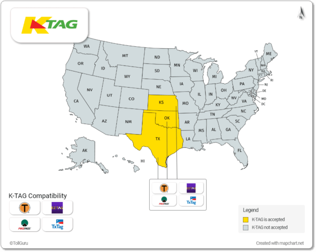 K Tag is accepted in Kansas, Texas and Oklahoma along with TxTag, PikePass, TollTag, and EZ Tag
