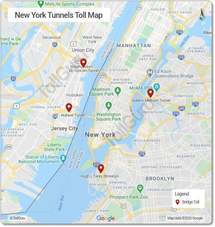 Toll booth locations of NY tunnels as Lincoln Tunnel, Holland Tunnel, Queens Midtown Tunnel 2 Tubes and Hugh L Carey Tunnel