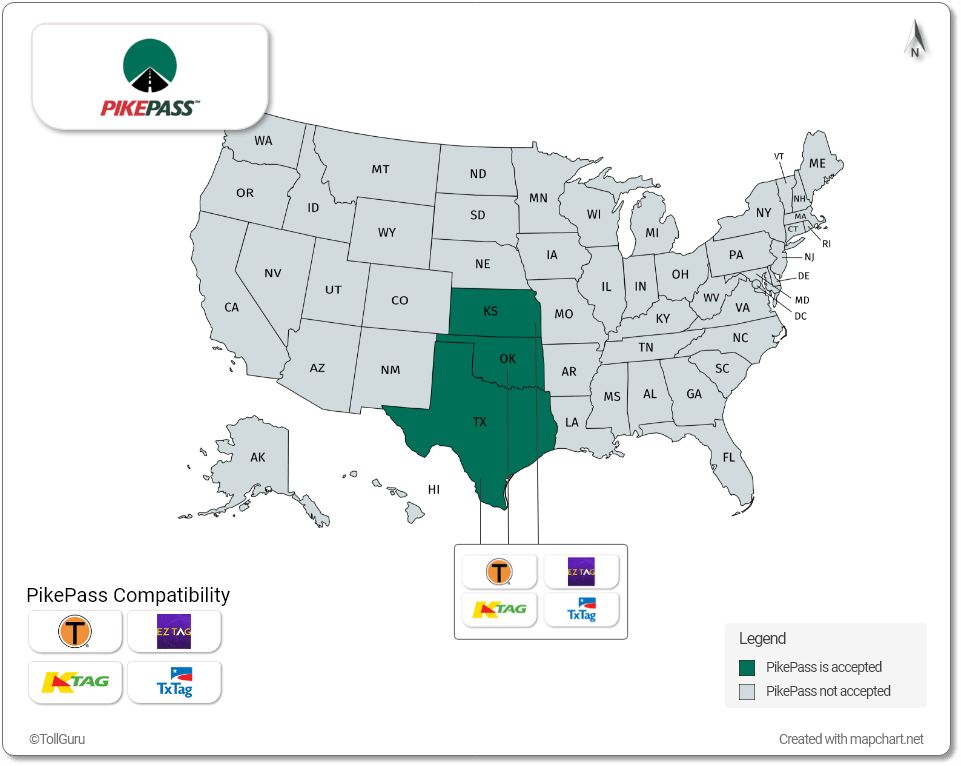 PikePass is accepted in Kansas, Texas, and Oklahoma along with TxTag, Toll Tag, K Tag, and EZ Tag