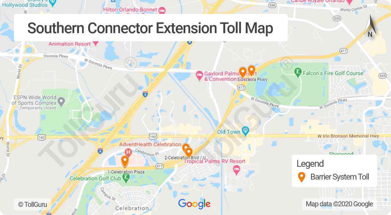 Toll booth locations on Southern Connector Extension or Southern end of the Central Florida or Eastern Belt of Orlando