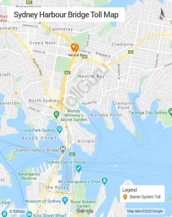 Sydney Harbour Bridge toll booth location