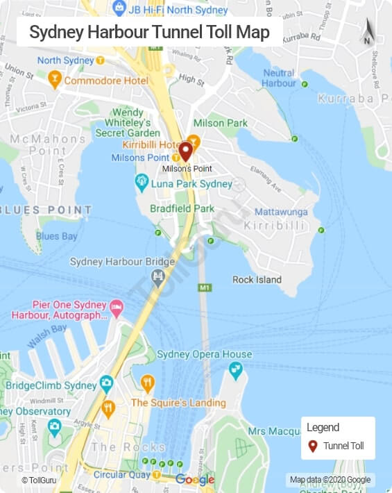 Sydney Harbour Tunnel toll booth location