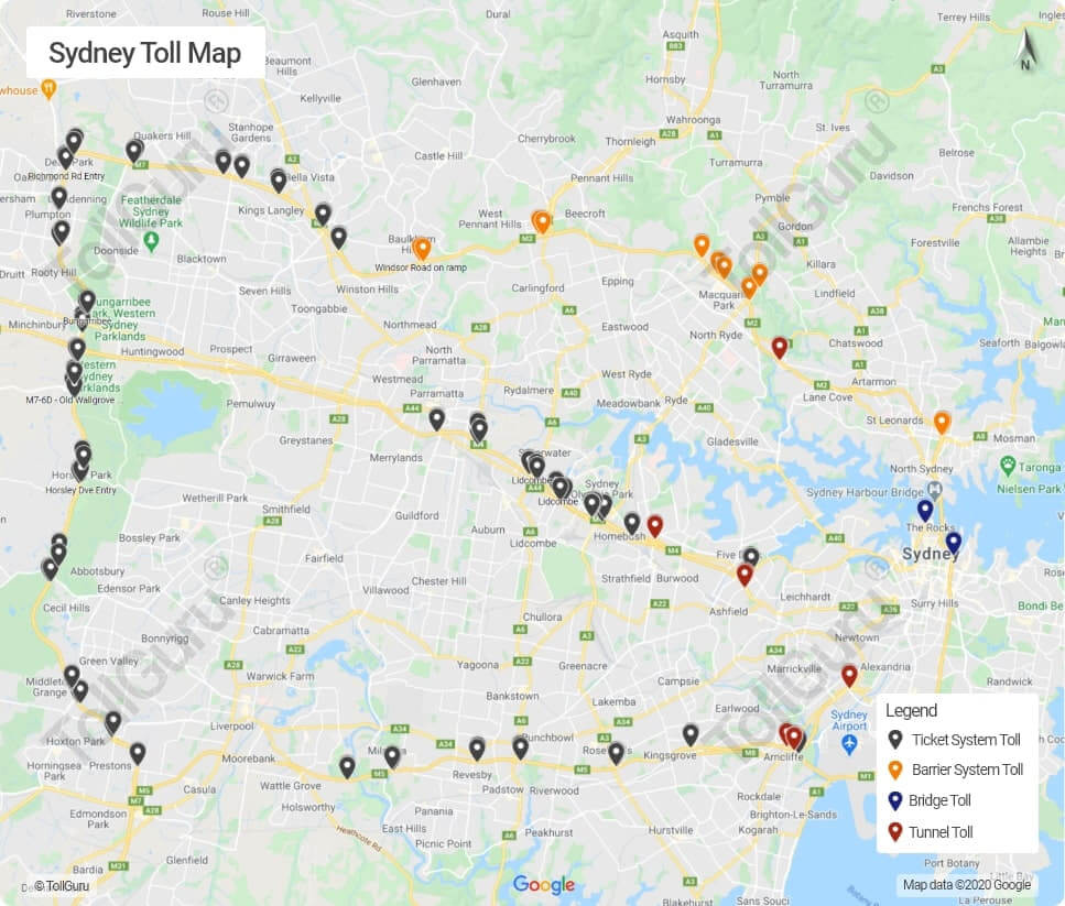 Sydney toll booth locations on all toll roads including Sydney Harbour Bridge, Sydney Harbour Tunnel, NorthConnex Tunnel