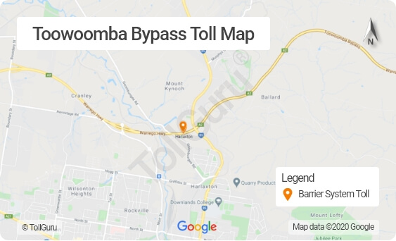 Toowoomba Bypass Brisbane toll booth locations