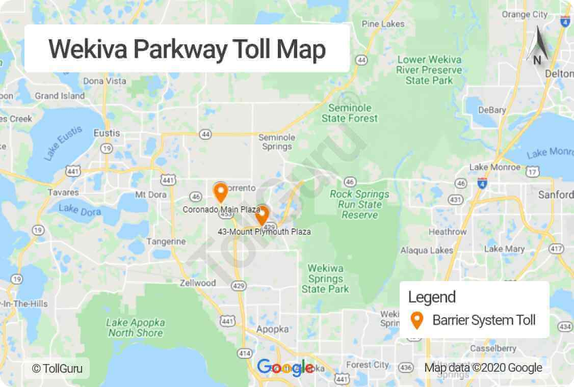 Toll booth locations of Wekiva Parkway part of Central Florida Beltway encircling Metro Orlando