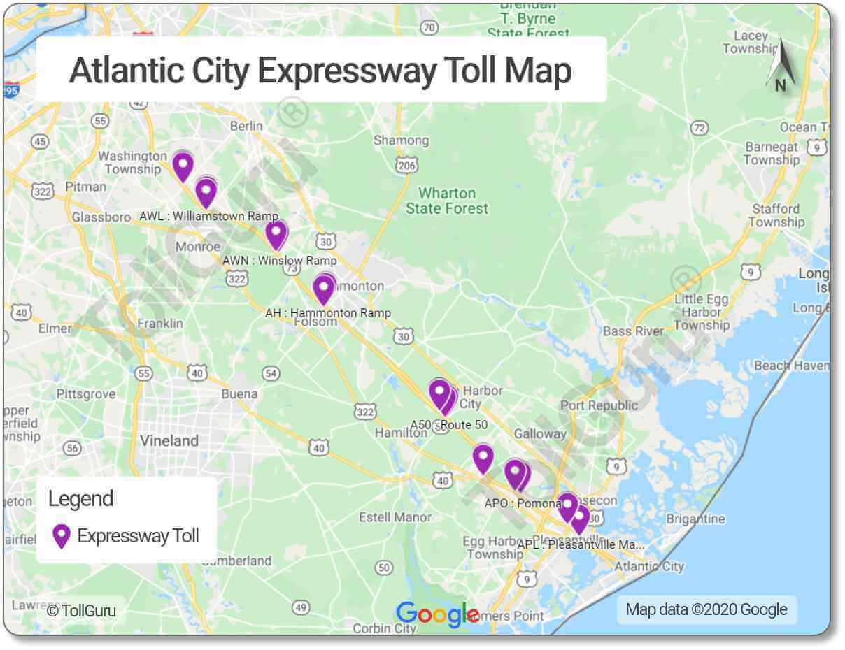 Toll booth locations of Atlantic City Expressway between Delaware Valley and Atlantic City including Egg Harbor