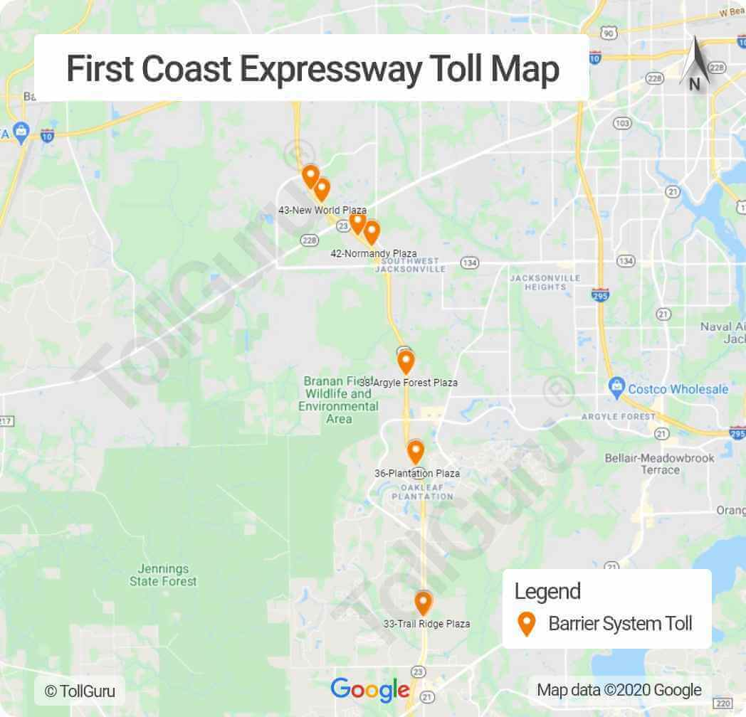 Toll booth locations on Florida 23 or First Coast Expressway around southwest quadrant of Jacksonville