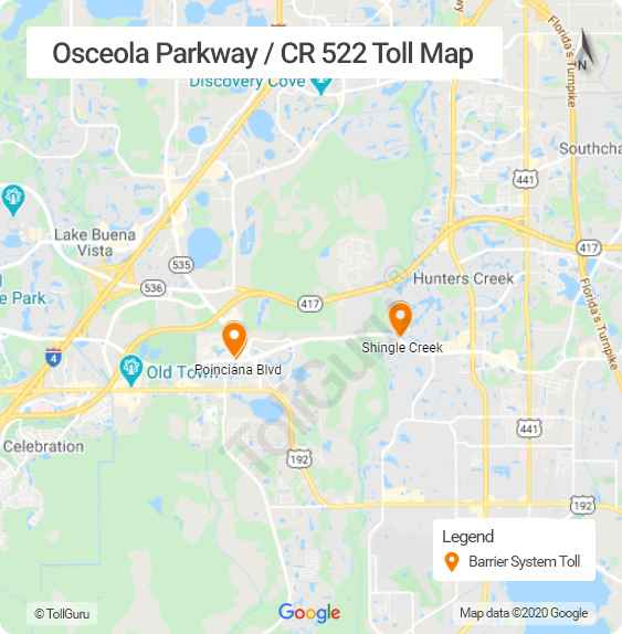 Toll booth locations of Osceola Parkway or CR 522 connecting Disney World resort area near Kissimmee and Buena Ventura
