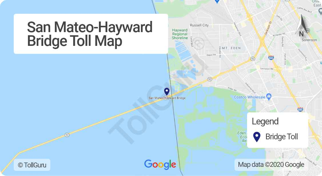 Toll booth location of San Mateo-Hayward Bridge linking San Francisco Peninsula to East Bay between Foster City and Hayward